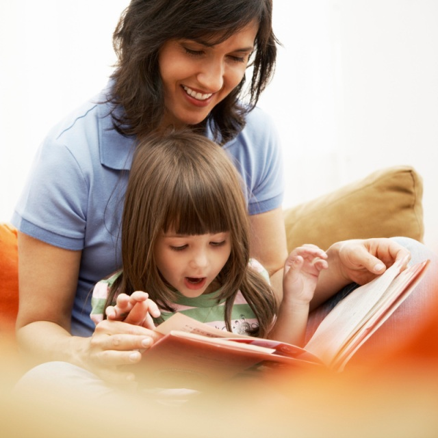 Mother and Daughter Reading Together Libraries