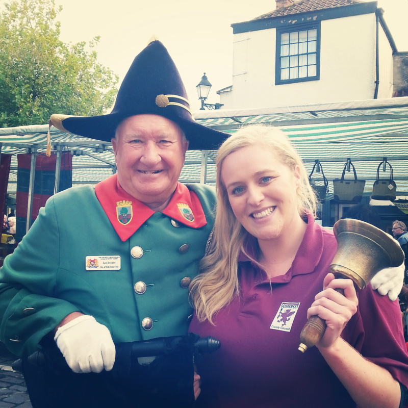 Wells town crier with Emily Listening Learning Changing