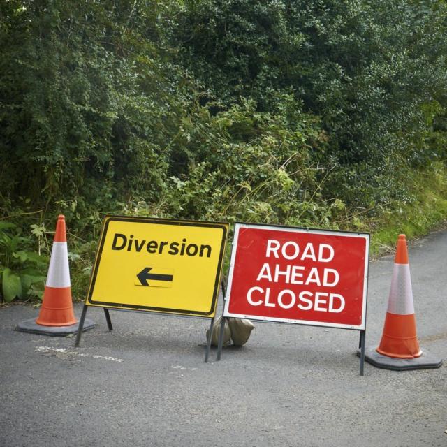 Diversion sign roadworks highways