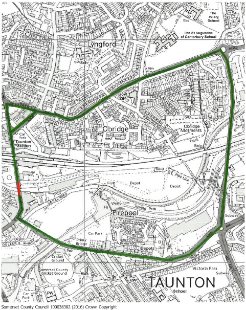 Taunton Road closure map