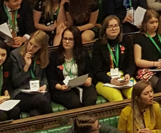 Members of Youth Parliament at work in the Commons