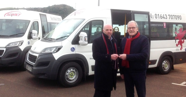 Councillor John Woodman and Brian Worrall with the buses