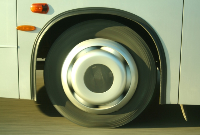 Blur motion effect, wheel of bus