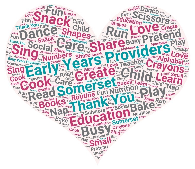 Word cloud Early Years Providers Somerset Thank you